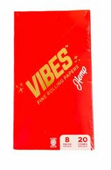 Vibes - King Size Cones - Hemp - 20 Cones Per Pack 8 Packs of cones