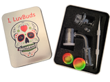 LuvBuds 25MM Banger Kit with 14MM Female Banger with wax container, pearls, vortex carb cap and dabber in silver tin.