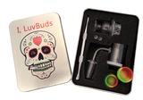 Luvbuds 25MM Banger Kit with 18MM Male Banger, wax container, pearls, vortex carb cap and dabber in silver tin.