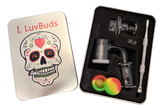 Luvbuds 25MM Banger Kit with 18MM Female Banger, wax container, pearls, vortex carb cap and dabber in silver tin.