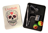 Luvbuds Thermal Banger Kit with 14mm Male Banger, wax container, pearls, bubble carb cap and dabber in silver tin.