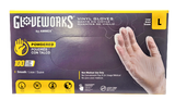Gloveworks Clear Vinyl Industrial Latex Free Disposable Gloves - Large - 100 gloves per box - POWDERED