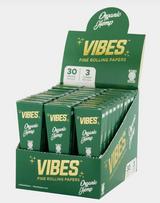 Vibes - Cones - Coffin - King Size - Organic Hemp (Green) - 30 Boxes Per Display 3 Cones Per Box