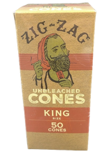 Zig Zag Mini Bulk King Sized Unbleached Pre-Rolled Cones | 50 Pack