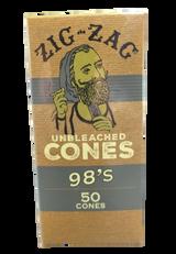 Zig Zag Mini Bulk 98mm Unbleached Pre-Rolled Cones | 50 Pack