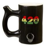 10oz. 420 MUG - BLACK MUG WITH RASTA COLORS