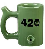 420 WAKE AND BAKE MUG GREEN WITH BLACK IMPRINT
