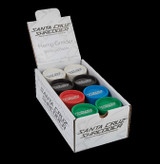 "Santa Cruz Shredder - 2 Piece Hemp Grinder - 2 1/8"" Medium - 24 Unit POP Display - Assorted - (8) Natural, (4) Black, (4) Blue, (4) Green, (4) Red"