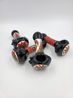 """5"""" Black Wig Wag Glass Hand Pipe"""