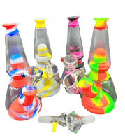 "7.5"" Silicone 2 Glass Chamber Bong/Rig 