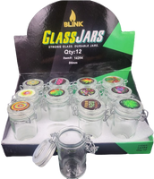 Blink Air Tight Glass Jars with Latch Top (holds 3.5g) | 12 pk | Retail Display
