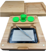 """7""""x7.5"""" Bamboo Rolling Tray Box Set   Dab Mat, 3 Wax Containers, Dab Tool   Magnetic Seal"""