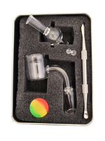 Luvbuds Thermal Banger Kit with 18mm Male Banger, wax container, pearls, bubble carb cap and dabber in silver tin close up.