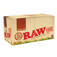 RAW Organic Hemp | Pre-Rolled Cones - King Size | 32 pk of 3 Pre-Rolled Cones | Retail Display