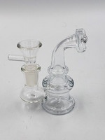 """4"""" Stocky Glass Rig with  FREE 14mm Male Quartz Banger and Flower Bowl"""
