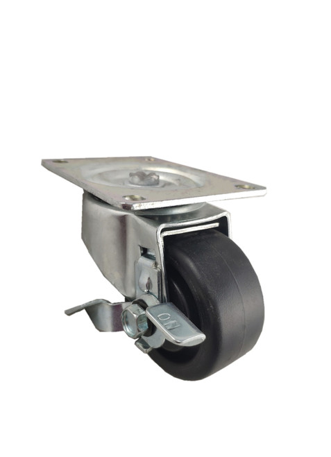 "4030-01-HDP-TLB | POLYOLEFIN SWIVEL PLATE CASTER WITH BRAKE 3"" X 1-1/4"""
