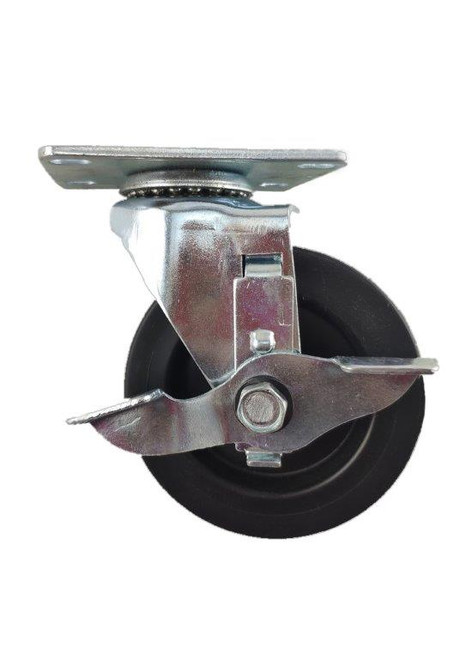 "3840-01-HDP-TLB | POLYOLEFIN SWIVEL PLATE CASTER WITH BRAKE 4"" X 1-1/4"""