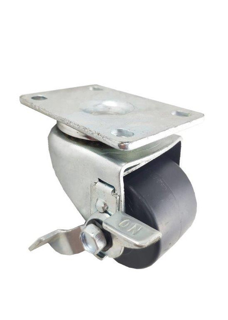 "5625-01-XDPO-TLB | POLYOLEFIN SWIVEL PLATE CASTER WITH BRAKE 2-1/2"" X 1-3/4"""