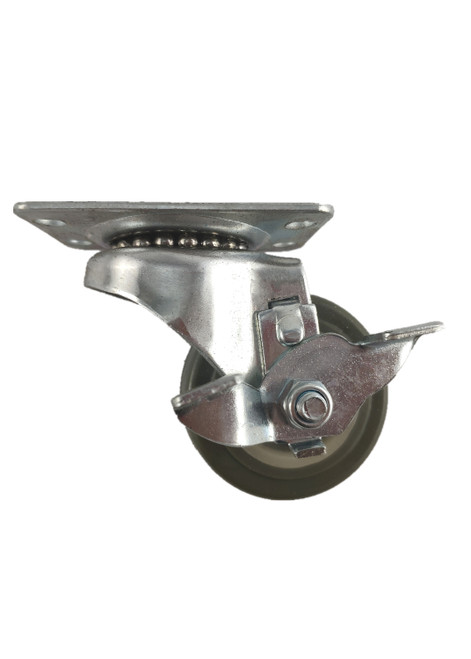 "4020-01-PPPG-TLB | POLYURETHANE ON POLYOLEFIN SWIVEL PLATE CASTER WITH BRAKE 2"" X 1"""