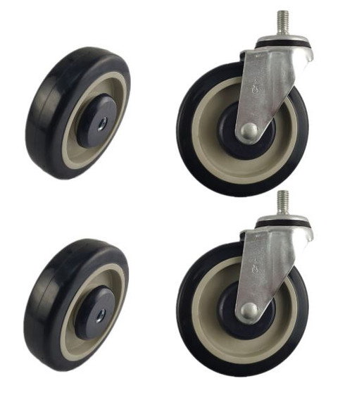 SHOPPING CART COMPLETE REPLACEMENT SET | 2 SWIVEL CASTERS & 2 REPLACEMENT WHEELS