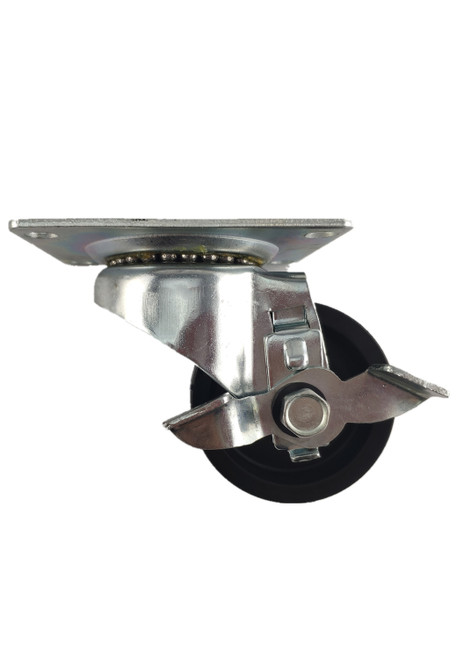 "4030-01-LDP-TLB | POLYOLEFIN SWIVEL PLATE CASTER WITH BRAKE 3"" X 1-1/4"""
