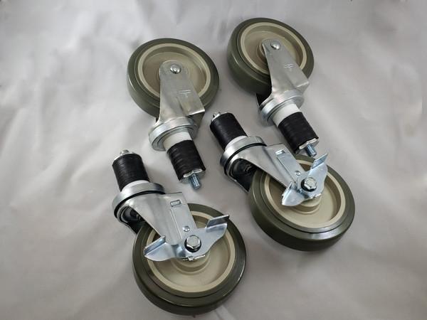 """Commercial Kitchen Caster 5"""" wheel for 1 1/2"""" Leg"""