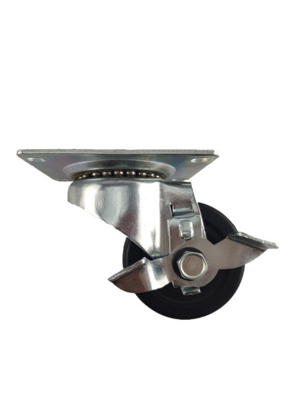 """4030-01-HR-TLB   HARD RUBBER SWIVEL CASTER WITH BRAKE 3"""" X 1-1/4"""""""