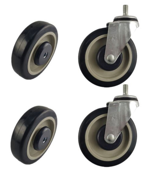 SHOPPING CART COMPLETE REPLACEMENT SET   2 SWIVEL CASTERS & 2 REPLACEMENT WHEELS