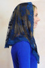 Limited Time Only: Twilight Blue Chantilly Lace Mantilla with Floral Trim