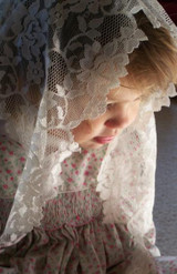 Short Floral Lace Mantilla in Ivory