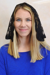 Limited Time Only: Black Floral Half-Circle Mantilla with Scalloped Trim