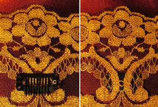 The mini-comb snap clip: it's how to keep your veil from slipping off. Shown sewn-in to the underside of the veil.