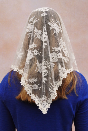 AS IS: Second Quality Ivory Triangle Chantilly Lace Mantilla (Limited Supply)