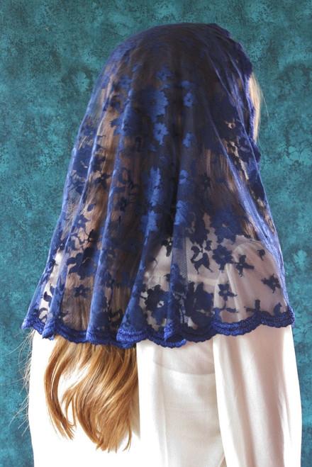 Medieval Blue Soft Tulle Half-Circle Mantilla - Large