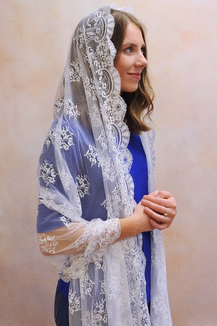 White Spanish Mantilla Shawl