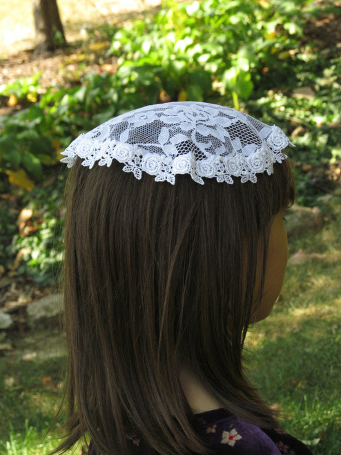 Small Circle Mantilla - Chapel Cap  in White