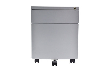 Curved Front Steel mobile storage cabinet, Silver