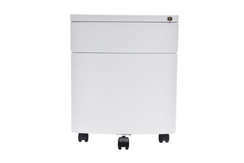 Curved Front Steel mobile storage cabinet, White