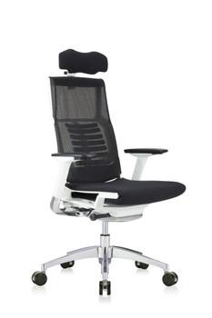 Powerfit White Frame Fabric Seat W/Headrest