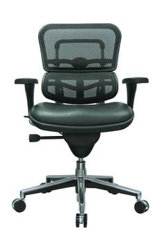 Ergo Mid Back Leather Seat Mesh Back