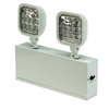 """Long lasting, efficient, ultra bright white LED lamp heads. 1.5 watt (12 LEDs x 0.125 watt) per head. High performance chrome-plated metallized reflector and plastic lens for optimal light distribution. Adjustable LED lamp heads provide optimal center-to-center spacing Dual 120/277 voltage standard. Charge rate/power """"ON"""" LED indicator light and push-to-test switch for mandated code compliance testing. LVD (low voltage disconnect) prevents battery from deep discharge. 6V sealed lead acid, maintenance-free, rechargeable battery. Remote capacity of 20.0 watt standard. Runs up to 8 hours without remote heads. Internal solid-state transfer switch automatically connects the internal battery to LED board for minimum 90-minute emergency illumination. Fully automatic solid-state, two rate charger initiates battery charging to recharge a discharged battery in 24 hours. Universal knockout pattern on back plate for wall mount. Side and top knockouts for conduit feed applications."""