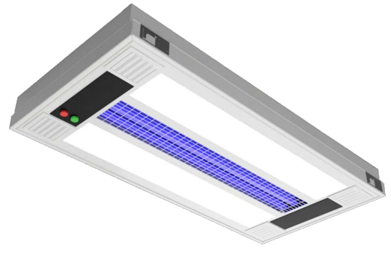 """The UVHY Series is the ideal disinfection solution for any space. Customizable to fit the needs of any application. The Hydra Fixture Series has versatile user definable options; with UV-C surface disinfection, Ambient LED lighting, RGB Ambient Lighting, UV-C Air Filtration, and optional positive and negative air ionizing. The Hydra fits seamlessly into your existing or new system. AIR PURIFICATION UV-C air filtration for disinfection cleans 232+ cubic feet of air per minute. In a 3000 cubic foot space, the air is circulated more than 6 times an hour. Two full sets of MERV 8 rated fireproof filters are included. Filters are washable and last a minimum of 5 years. Each unit has the option to add Air Ionization through the Eagle X Pro Steronizer. ELECTRICAL SYSTEM 120V and 277V applications. 0-10v electronic dimming driver allows a full range of dimming for the integrated LEDs. Long-life LED system rated for >100,000 life hours (L70@50˚C) for configurations with ambient light. Complies with Federal Energy Efficiency Standards. WiFi App/RF key control included standard. RJ45 connection available (replaces WiFi/RF control). OPTICAL SYSTEM Lenses cover the integrated LEDs, while a louvers showcases the UV-C lamps. Various lens options available for ambient configurations, if additional lens options are needed, consult factory. Lenses are optimized to diffuse the LEDs. LISTINGS ETL Germicidal Pending. Proudly designed and manufactured in the USA. FINISH Premium UV resistant matte white finish creates a sleek and smooth look. Anti-microbial white paint optional. CONSTRUCTION .063"""" aluminum design allows for a sturdy, yet lightweight construction. MOUNTING Recessed Grid or Recessed Flanged mounting options. Grid clips included for grid option, swing arm brackets included for flanged option. UV-C RADIATORS HO germicidal radiators emit a powerful 254nm UV-C output through a quartz enclosure, with a useful life of 9000 hours. 55W HO T8 radiators are used in 2x4 fixtures, and 9"""