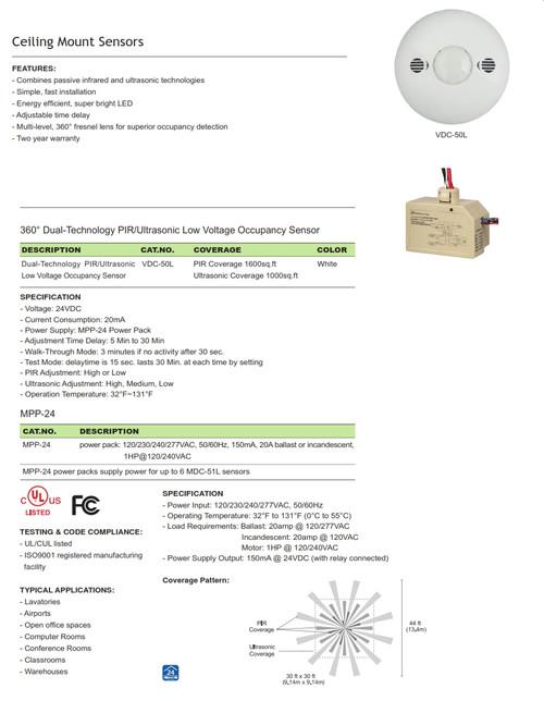 VDC-50L Multi-technology Low Voltage Ceiling Mount Sensor