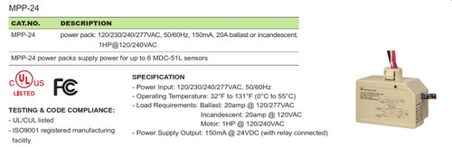 VPP-24 Occupancy Sensor 24VDC Power Pack (Required for Low Voltage Ceiling Sensors)