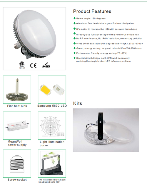 L.E.D. Retrofit Lamp to Replace H.I.D. Lamps in Highbays and Lowbays