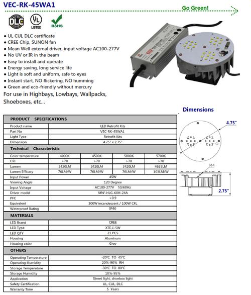VEC-RK-45WA1 45 watt Retrofit Kit to Replace 100 w H.I.D.