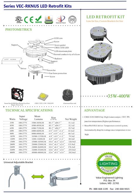 VEC-RK-400WA1  400 watt LED Retrofit Kit to Replace 1000w HID