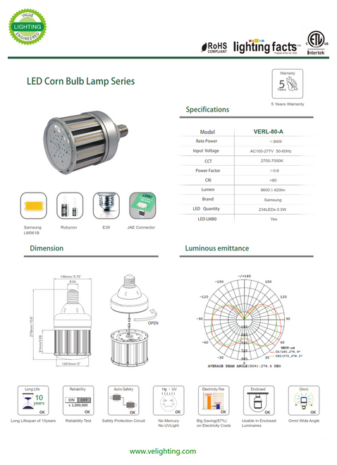 VERL-80W   80w LED Retrofit Lamp equivalent to 200w Metal Halide