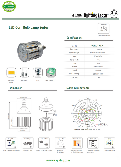 VERL-100W  100w LED Retrofit Lamp equivalent to 250 watt Metal Halide