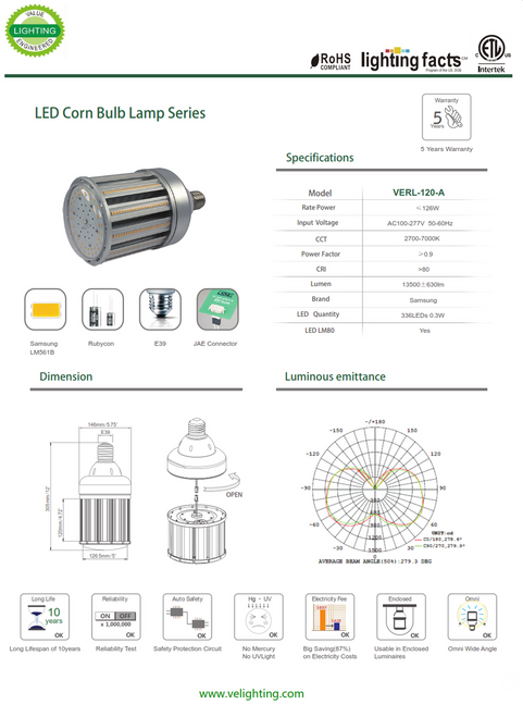 VERL-120W  120 Watt LED Retrofit Lamp equivalent to 400w Metal Halide Lamp